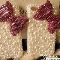 Rosered&offwhite Luxury cute diamond Pearl Case bow Cover for iPhone 4 4s 5 5g
