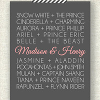 "DISNEY PRINCESS COUPLES - 8"" x 10"" Custom Designed Wall Art - Disney Princess and their Princes with your names added in"