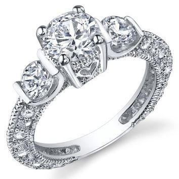 Sterling Silver Wedding Engagement Ring with Cubic Zirconia CZ Sizes 5 to 9