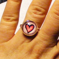Valentine Pink Heart ORIGINAL art 12 mm round glass by sacari