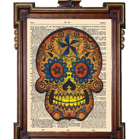 SUGAR SKULL Upcycled Art Print Illustration by TreasuresByUs