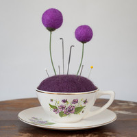 Vintage Teacup Purple Flower Pincushion by meghanica on Etsy