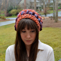 Multi Colored Crocheted Slouch Hat