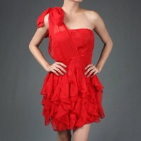 Drape Chiffon Bow Ruffle Swan Ballet Tube Dress | 44673