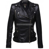 handmade women elegant Black Leather Jacket women by ukmerchant