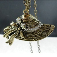 Vintage Hat Rhinestone Studded Long Chain Pendant Necklace at Online Jewelry Store Gofavor