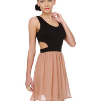 Beautiful Color Block Dress - Dusty Pink Dress - Cutout Dress - $60.00