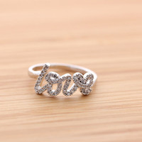 handwritten LOVE ring with crystals, 3 colors | girlsluv.it