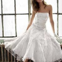 Short Printed Organza Gown with Floral Sash - David&#x27;s Bridal