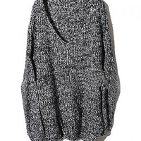 Oversized Fleck Yarn Knitted Jumper with Deep V-neckline