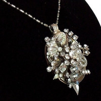 Rhinestone Locket necklace Haute Couture by HopscotchCouture