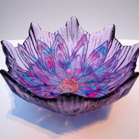 Purple Flower Embroidered Bowl by Aspire2Inspire99 on Etsy