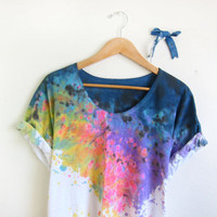 Splash Dyed Hand PAINTED Scoop Neck Pinned Rolled by twostringjane