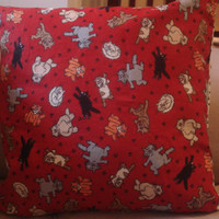 Pillow Cover Cats on Red DoubleSided 14 X 14 100 by TheGoodOleDays