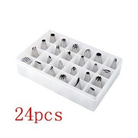 SODIAL- 24pcs Icing Piping Nozzles Pastry Tips Cake Sugarcraft Decorating Tool Box Set-Pack of 24