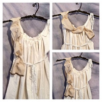Womens Blouse Goldilocks Gold Honey Teddy Bear Picnic Tunic Top Eco Cotton Homespun Sash Custom Made Tattered