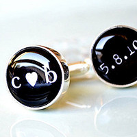 Little heart you me and date cufflinks black and by whitetruffle