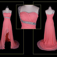 Hot sale One shoulder sleeveless hi-lo pink chiffon with sequins beading prom gowns/evening dress /cocktail dress/wedding dress