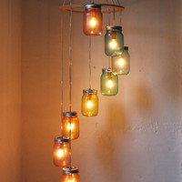 Rainbow Brite Spiraling Mason Jar Chandelier Mobile by BootsNGus