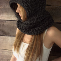 Infinity scarf hoodie-hooded infinity scarf