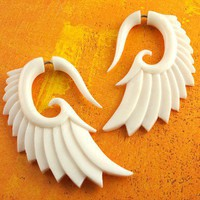 gauges earrings fake Bone Nava Wings by TribalStyle on Etsy
