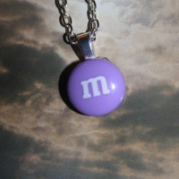 Lilac Purple Candy Sweet M&M Resin Heart Bail Necklace