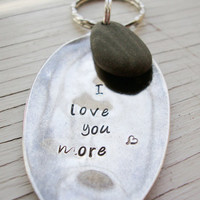 I love you more hand stamped silver upcycled spoon key chain with beach stone