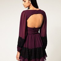 Rare | Rare Lace Panel Open Back Dress at ASOS