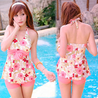Summer New Floral Print Halterneck Bowknot Girl Women Tankini Swimsuit