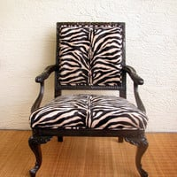 French inspired Vintage Chair upholstered in Zebra by Inged