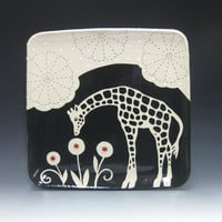 Square Serving Platter  Giraffe with Circle Flowers  by emilydyer