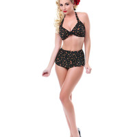 50's Style Black Floral Two Piece Swimsuit - Unique Vintage - Cocktail, Pinup, Holiday & Prom Dresses.