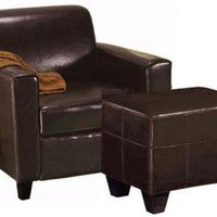 Geneva Leather Chair and Ottoman Set - Arm Chairs - Living Room Furniture - Furniture | HomeDecorators.com