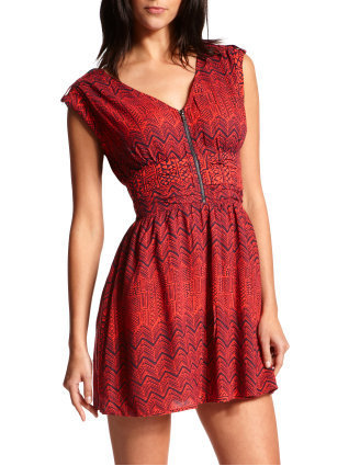 Charlotte Russe - Zip-Front Woven Tribal Dress