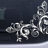 Floral Vine Corner Swirl Wall Decal Swirls Car Window Wall Laptop Decal Sticker -- White 6in X 7.5i