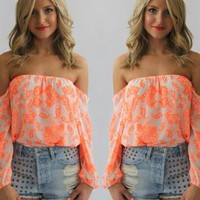 Coral Paisley Chiffon Off the Shoulder Top