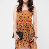 Geo Belted Tank Dress in Amber Multi :: tobi