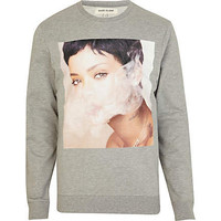 Grey Rihanna print sweatshirt