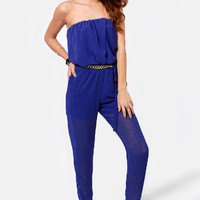 Time for a Chain Strapless Blue Jumpsuit