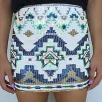 Aztec Mini Skirt with Sequin Embellishments