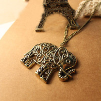 SALE! Elegant Vintage Bronze Filigree Floral Pattern Big Elephant Pendant Necklace