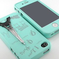 New HOT Mint Eiffel swarovski back silicone case cover+Screen for iPhone 4 4S 4G