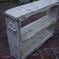 Shabby Chic Furniture Shelf With Hand Carved by honeystreasures