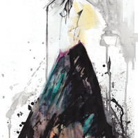 Smoke // ORIGINAL painting, watercolor and ink  - FASHION ILLUSTRATION