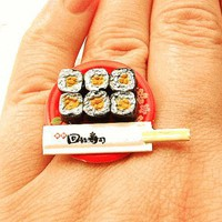 Natto Sushi Rolls Miniature Food Ring