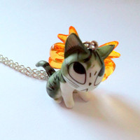 Kawaii Cat Necklace Chi the Cat Kitty by KitschBitchJewellery