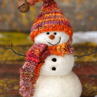 Snowman - Wool Needle Felted Snowmen - winter decor - 188