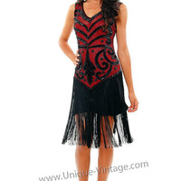 1920's THE SABLE Red & Black Beaded V Dropped Waist and Fringe Skirt Flapper Dress - S to XL - Unique Vintage - Cocktail, Evening & Pinup Dresses