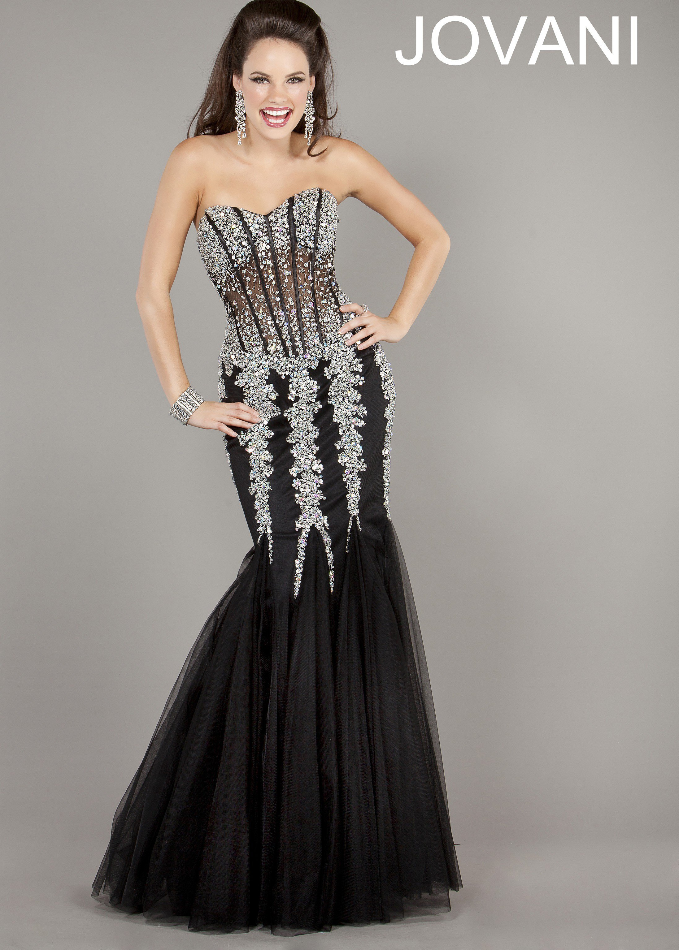 Jovani 5908 Black/Silver Strapless from Rissy Roo's | Prom - photo #14