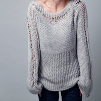 Hand knit woman sweater - Eco cotton sweater in light grey